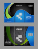"""Design folding brochures with blue polygonal backgrounds. Tri-fold brochure. Set 106946386,Golden crescent moon and stars on space background"""""""