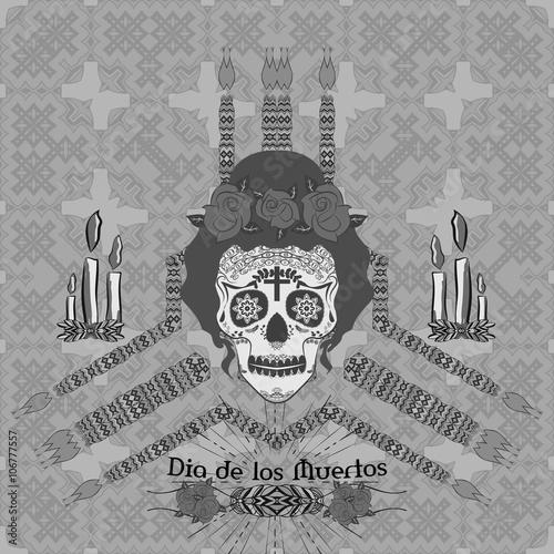 Staande foto Imagination Ornamental sugar skull girl