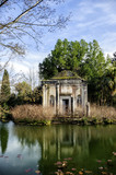 ruins in the English garden in the royal park in caserta