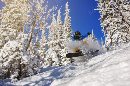 Snowboarder jumping Canvas Print
