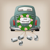 Fototapety Just married on car.
