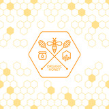 Honey label, logo, tag, sticker design elements. Vector seamless background with honeycombs. Outline bee and honey dipper symbol. Concept for honey package, banner, wrapping. Abstract background.