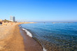 Beach in Barceloneta in Barcelona and blue sky, Spain