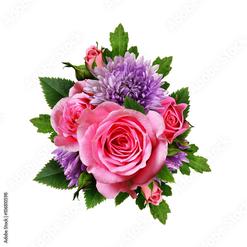Aster and rose flowers bouquet