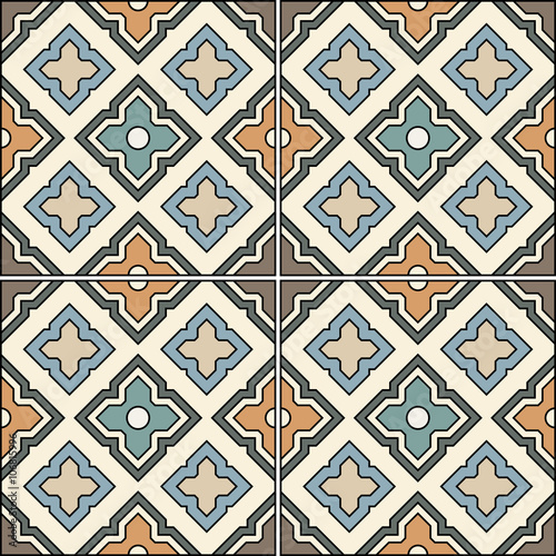 Beautiful seamless ornamental tile background vector illustration. - 106815996
