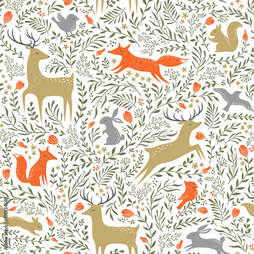 Cotton fabric Summer woodland pattern