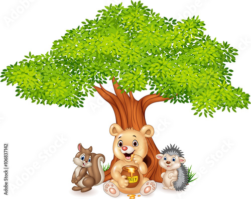 Naklejka Cartoon funny animal on the tree