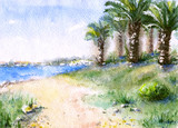 Watercolor tropical view with sea coast and palm trees.