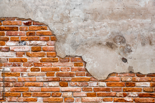 Old brick wall torn