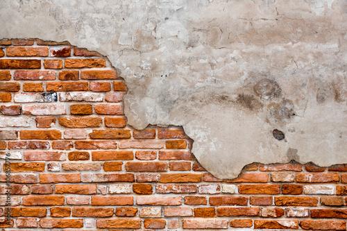 Fototapeta Old brick wall torn