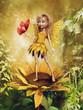 Baśniowa wróżka w żółtej sukience stojąca na słoneczniku