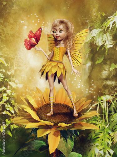 Zdjęcia na płótnie, fototapety na wymiar, obrazy na ścianę : Baśniowa wróżka w żółtej sukience stojąca na słoneczniku