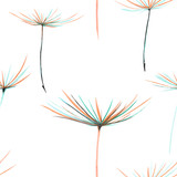 Seamless floral pattern with the watercolor dandelion fuzzies, hand drawn on a white background