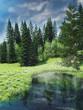 Wiosenny krajobraz z lasem i jeziorem