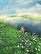 Słoneczny krajobraz z wiosenną łąką i jeziorem