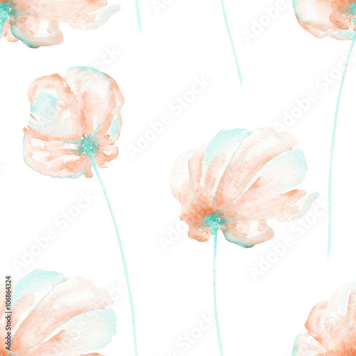 Seamless floral pattern with the watercolor pink and mint air flowers, hand drawn on a white background - 106864324
