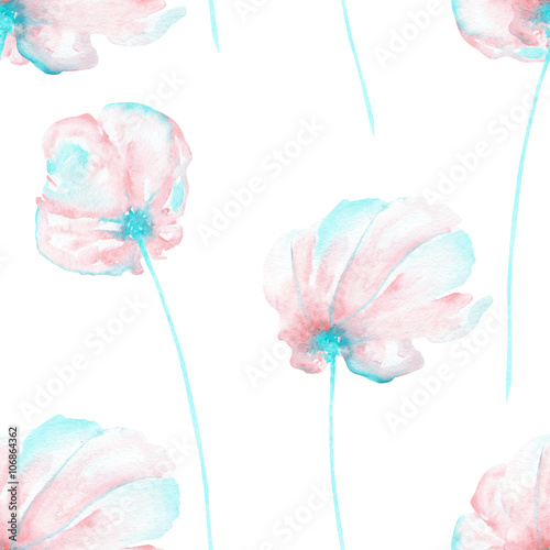 Seamless floral pattern with the watercolor pink and mint air flowers, hand drawn on a white background - 106864362
