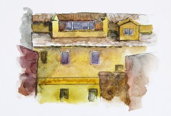 European House. Watercolor illustration. Facade wall texture