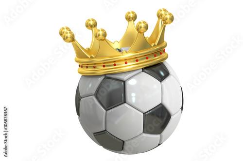 Gold crown soccer ball, 3D rendering