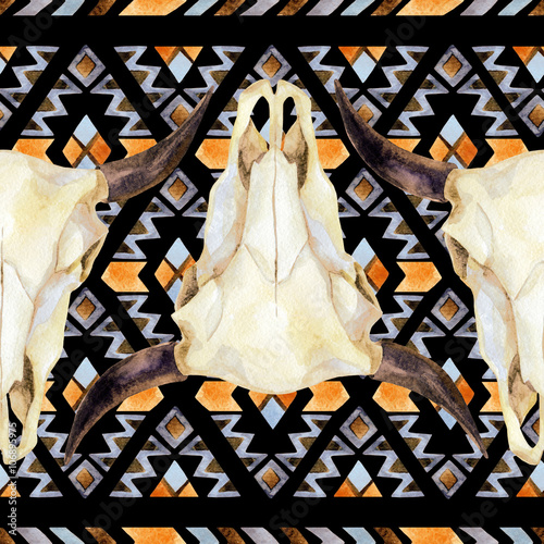 Geometrical ethnic seamless pattern with cow skull - 106895975