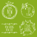 Hand Drawn spring labels with flowers,branches and leaves. Vecto