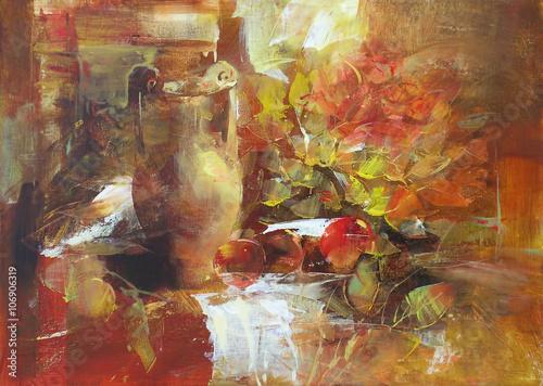 Naklejka still life handmade painting
