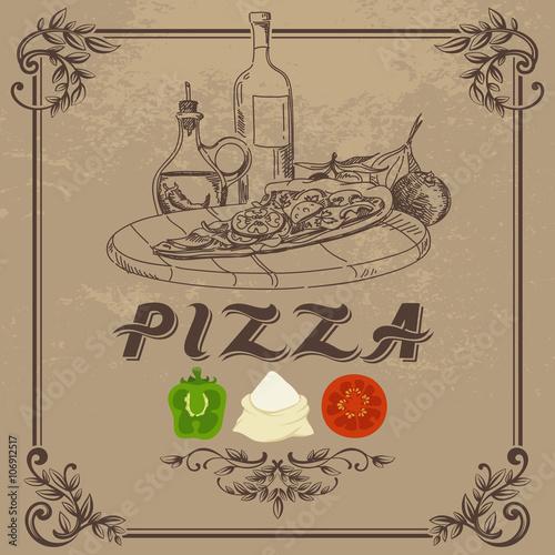 Póster Doodle Ilustración de la vendimia de la pizza