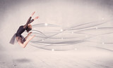 Ballet dancer performing modern dance with abstract lines - Fine Art prints