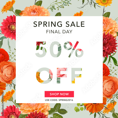 Zdjęcia na płótnie, fototapety, obrazy : Spring Sale Banner. Sale background. Big sale. Floral Sale Tag.
