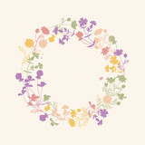 Vector floral frame. Wild flowers wreath in pastel colors. Card for spring, summer, invitation, wedding designs. - 106928996