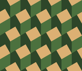 Vector illustration of a seamless repeating pattern of isometric house