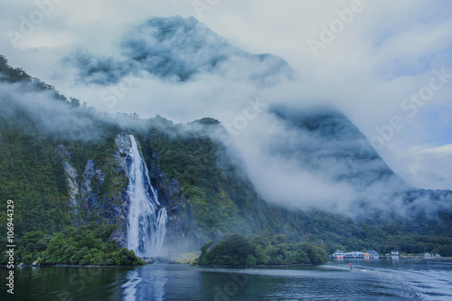 water falls in milford sound important traveling destination in - 106944329