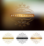 Beauty salon frame logo design with flourishes line. Suitable for beauty salon, spa, massage, cosmetic decorative. Vector illustration