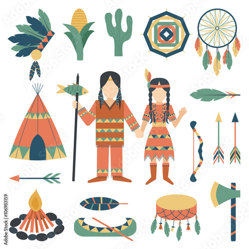 Fotobehang Indiërs Indians icons traditional travel asia temple religion ornament vector.
