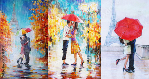 oil painting, a pair of lovers under an umbrella, Eiffel Tower, Paris, valentines day 3 in 1 collage - 106984736