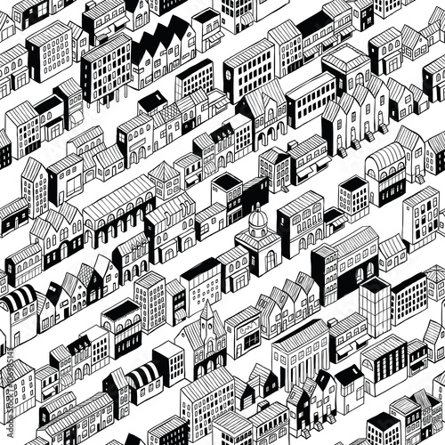 Cotton fabric Row City Seamless Pattern Isometric