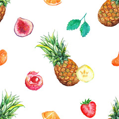 Watercolor tropical fruit berry seamless pattern background