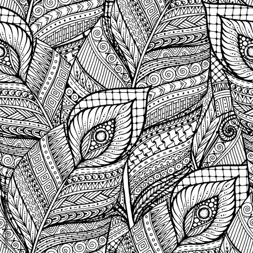 Seamless asian ethnic floral retro doodle black and white backgr
