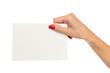 Hand Holding White Paper Sheet