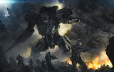 big robot and soldiers in a fight