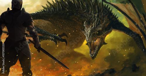 guerrier-et-un-dragon