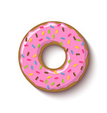 Ring shaped donut covered with strawberry flavoured pink icing and placed on white background