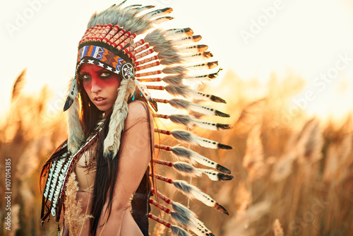 obraz lub plakat Beautiful girl in a suit of the American Indian