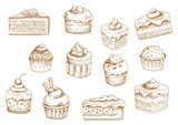 Fototapety Pastry  and sweet desserts sketches