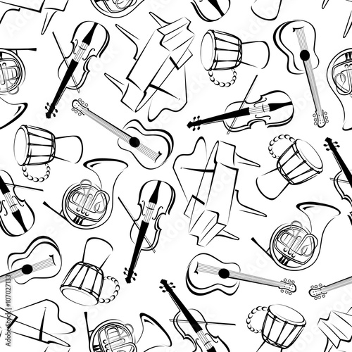 Fototapeta Music instruments art seamless pattern