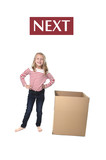 Fototapety cute and sweet blond hair child standing next to cardboard box learning English card set