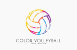 Fototapety Volleyball logo. Volleyball ball logo design. Color ball. Creative logo. Sport logo