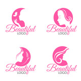 Fototapety Pink Beautiful Face lady woman logo vector set design