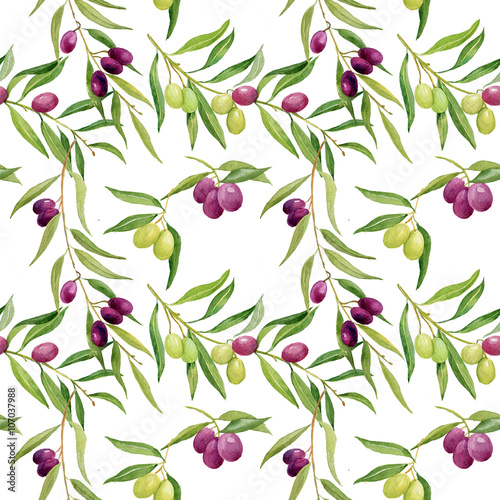 watercolor seamless pattern .olives branch on white background - 107037988