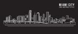 Fototapety Cityscape Building Line art Illustration design - Miami city